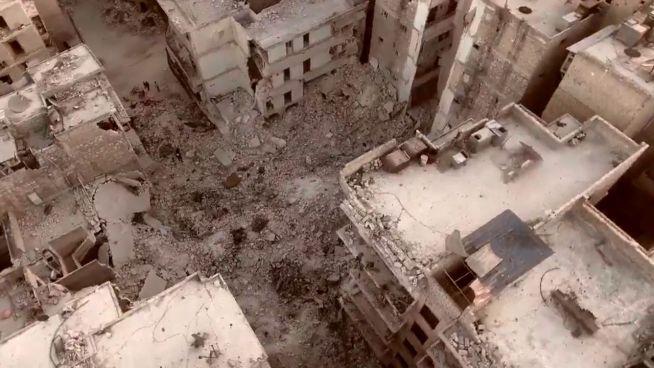 Völlig zerstört: Drohne zeigt Ruinen von Aleppo