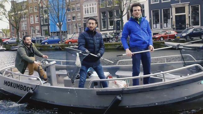Müll durch Partys: Amsterdam putzt seine Grachten